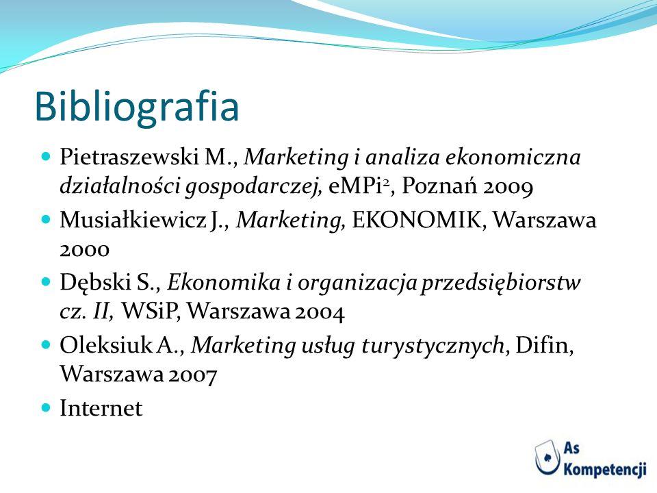 Bibliografia Pietraszewski M., Marketing i analiza ekonomiczna działalności gospodarczej, eMPi 2, Poznań 2009 Musiałkiewicz J., Marketing, EKONOMIK, W