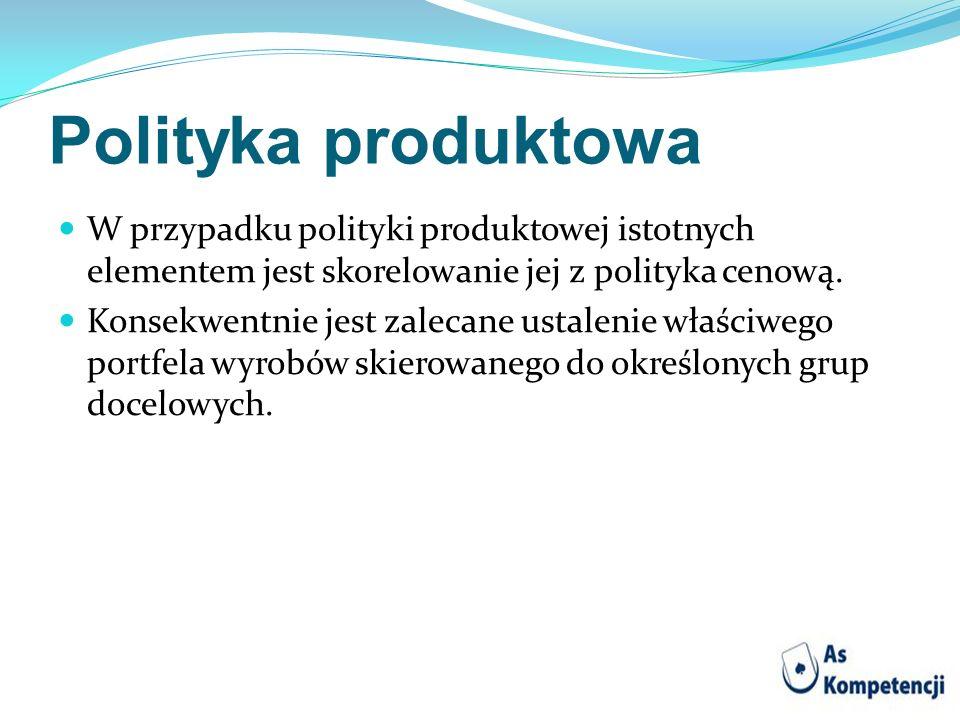 Polityka produktowa W przypadku polityki produktowej istotnych elementem jest skorelowanie jej z polityka cenową. Konsekwentnie jest zalecane ustaleni
