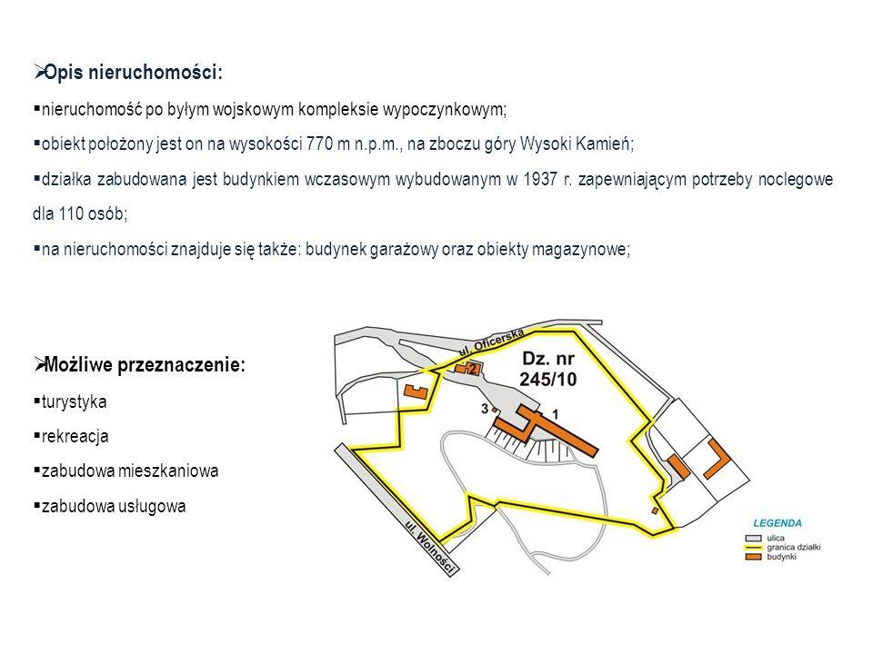Opis nieruchomości: nieruchomość po byłym wojskowym kompleksie wypoczynkowym; obiekt położony jest on na wysokości 770 m n.p.m., na zboczu góry Wysoki