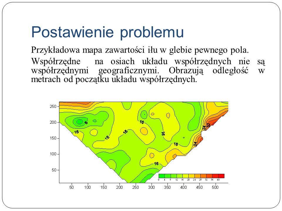 Postawienie problemu Przykładowa mapa zawartości iłu w glebie pewnego pola. Współrzędne na osiach układu współrzędnych nie są współrzędnymi geograficz