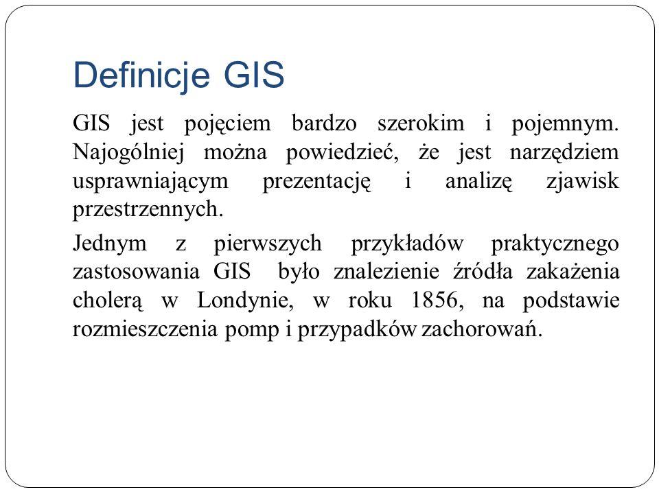Definicje GIS GIS jest pojęciem bardzo szerokim i pojemnym. Najogólniej można powiedzieć, że jest narzędziem usprawniającym prezentację i analizę zjaw