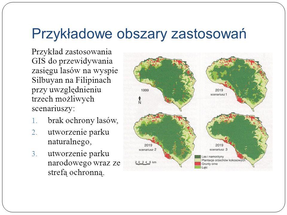 Przykładowe obszary zastosowań Przykład zastosowania GIS do przewidywania zasięgu lasów na wyspie Silbuyan na Filipinach przy uwzględnieniu trzech moż