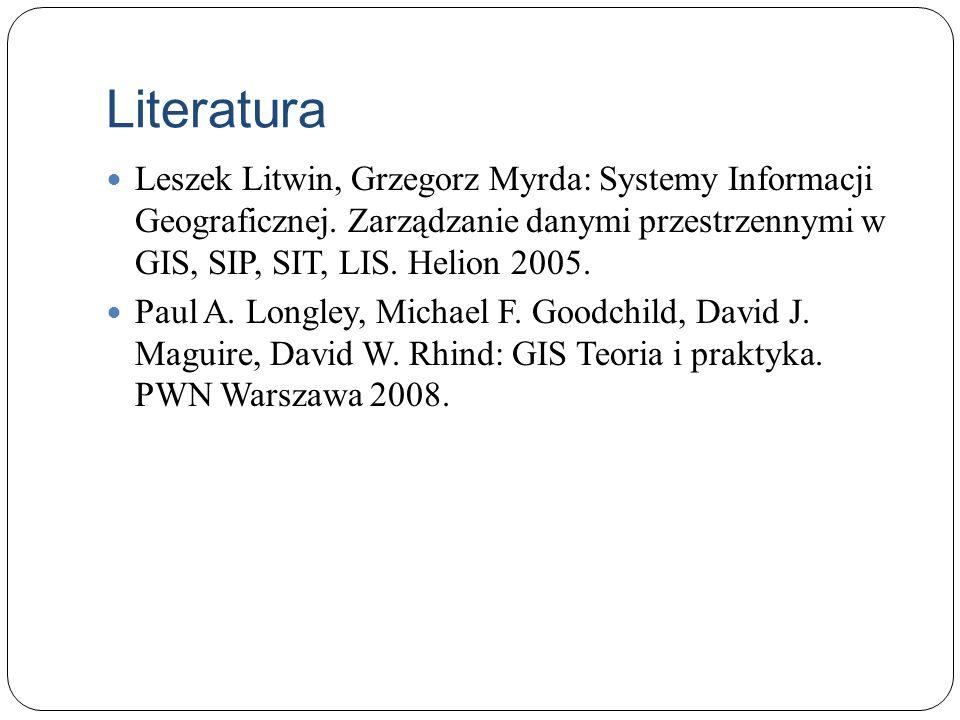 Literatura Leszek Litwin, Grzegorz Myrda: Systemy Informacji Geograficznej. Zarządzanie danymi przestrzennymi w GIS, SIP, SIT, LIS. Helion 2005. Paul