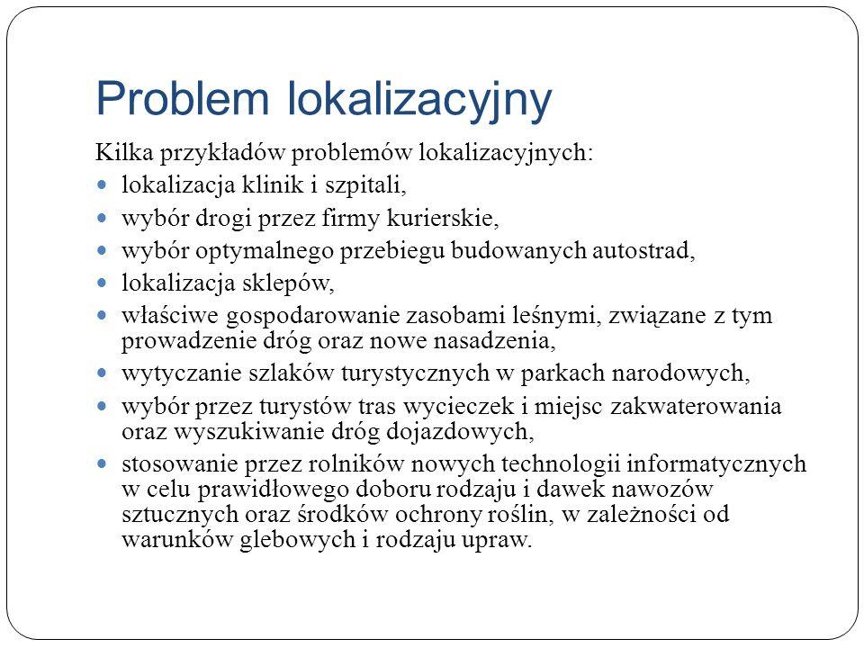 Problem lokalizacyjny Kilka przykładów problemów lokalizacyjnych: lokalizacja klinik i szpitali, wybór drogi przez firmy kurierskie, wybór optymalnego