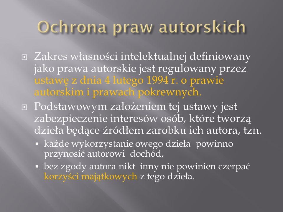 Zakres własności intelektualnej definiowany jako prawa autorskie jest regulowany przez ustawę z dnia 4 lutego 1994 r.