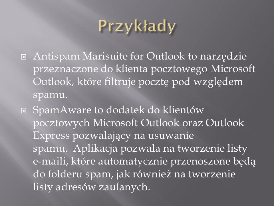 Antispam Marisuite for Outlook to narzędzie przeznaczone do klienta pocztowego Microsoft Outlook, które filtruje pocztę pod względem spamu.