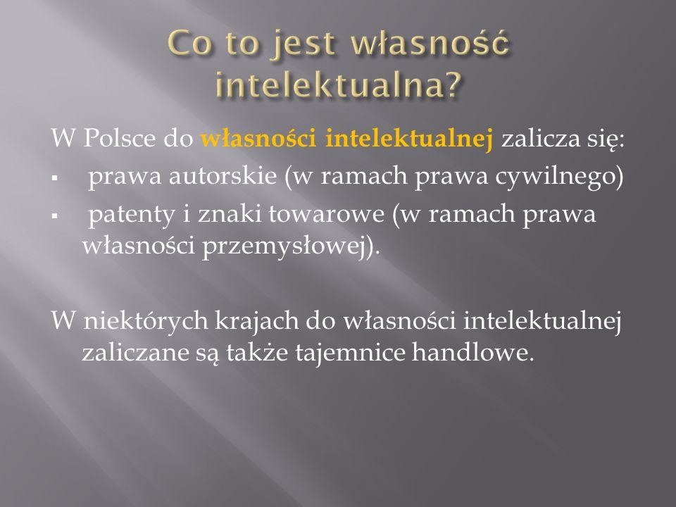 W Polsce do własności intelektualnej zalicza się: prawa autorskie (w ramach prawa cywilnego) patenty i znaki towarowe (w ramach prawa własności przemysłowej).