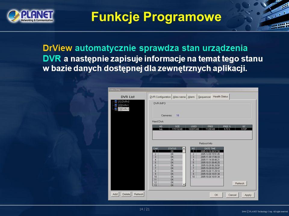 14 / 21 DrView automatycznie sprawdza stan urządzenia DVR a następnie zapisuje informacje na temat tego stanu w bazie danych dostępnej dla zewnętrznych aplikacji.