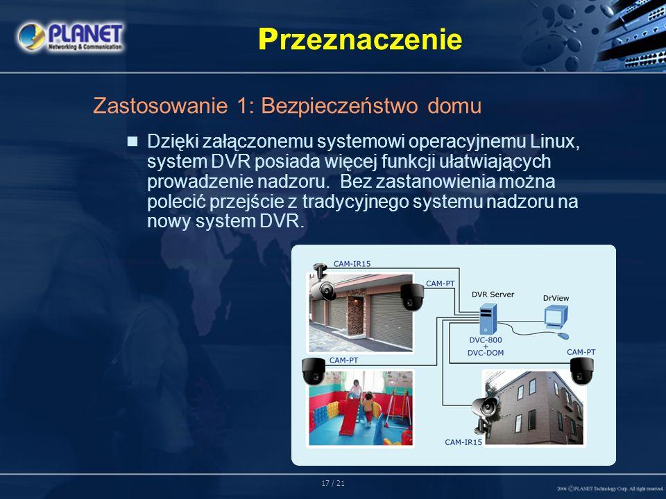 17 / 21 P rzeznaczenie Zastosowanie 1: Bezpieczeństwo domu Dzięki załączonemu systemowi operacyjnemu Linux, system DVR posiada więcej funkcji ułatwiających prowadzenie nadzoru.