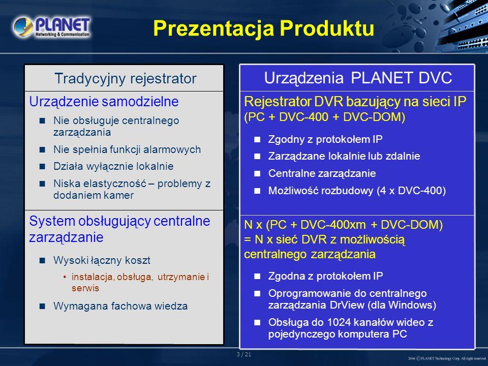 3 / 21 Prezentacja Produktu System obsługujący centralne zarządzanie Wysoki łączny koszt instalacja, obsługa, utrzymanie i serwis Wymagana fachowa wiedza Urządzenie samodzielne Nie obsługuje centralnego zarządzania Nie spełnia funkcji alarmowych Działa wyłącznie lokalnie Niska elastyczność – problemy z dodaniem kamer Tradycyjny rejestrator N x (PC + DVC-400xm + DVC-DOM) = N x sieć DVR z możliwością centralnego zarządzania Zgodna z protokołem IP Oprogramowanie do centralnego zarządzania DrView (dla Windows) Obsługa do 1024 kanałów wideo z pojedynczego komputera PC Rejestrator DVR bazujący na sieci IP (PC + DVC-400 + DVC-DOM) Zgodny z protokołem IP Zarządzane lokalnie lub zdalnie Centralne zarządzanie Możliwość rozbudowy (4 x DVC-400) Urządzenia PLANET DVC