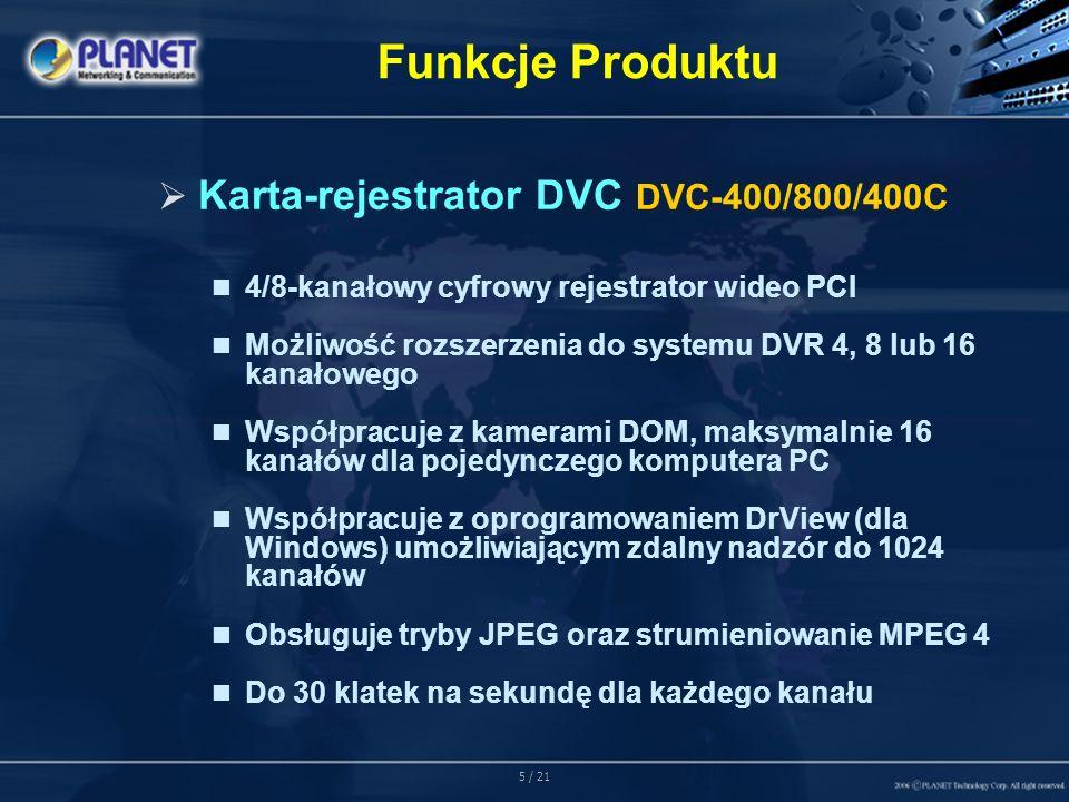 16 / 21 Funkcje Programowe Dodatkowo, dołączone oprogramowanie umożliwia odtwarzanie nagrań i eksportowanych plików oraz przetwarzanie ich do formatu AVI
