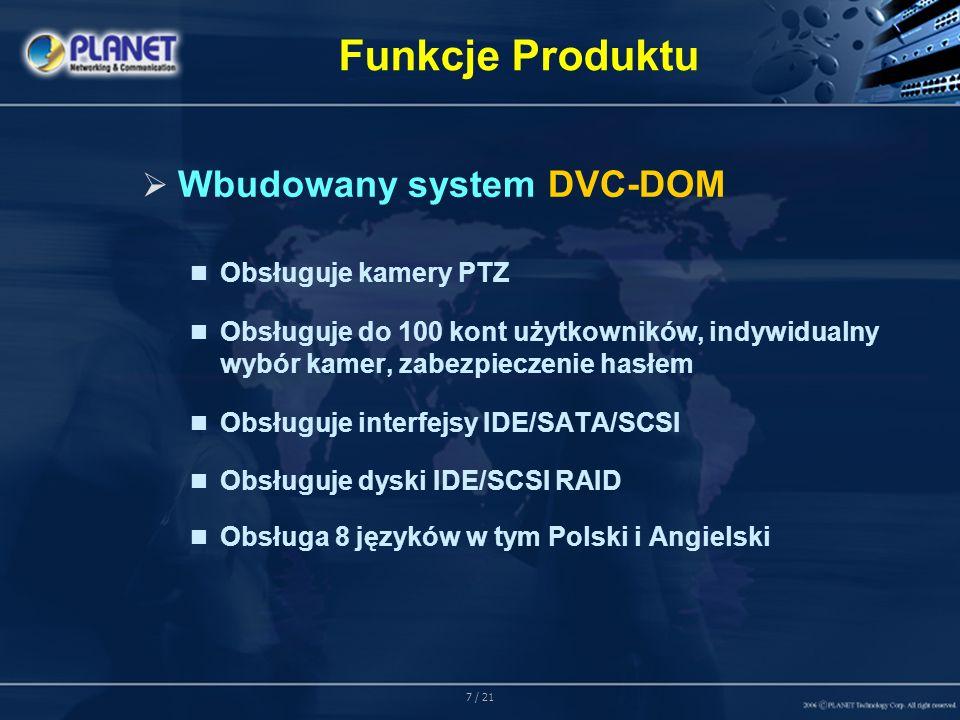 18 / 21 Przeznaczenie Zastosowanie 2: Przedsiębiorstwa Administrator może monitorować i kontrolować kilka serwerów DVR jednocześnie poprzez lokalną sieć LAN lub Internet.