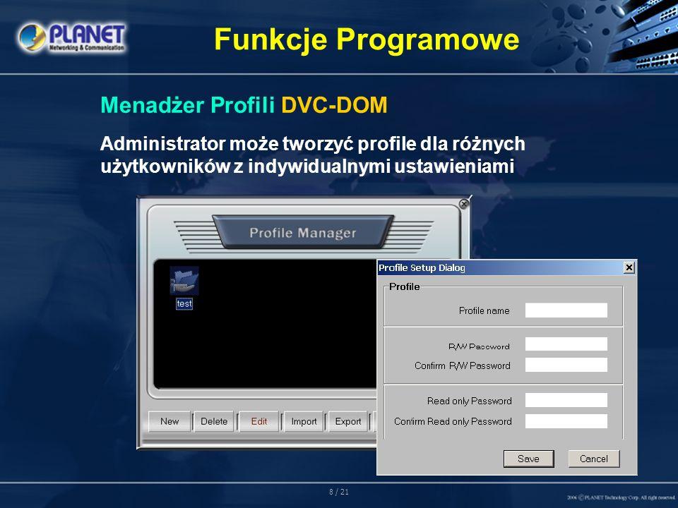 8 / 21 Funkcje Programowe Menadżer Profili DVC-DOM Administrator może tworzyć profile dla różnych użytkowników z indywidualnymi ustawieniami
