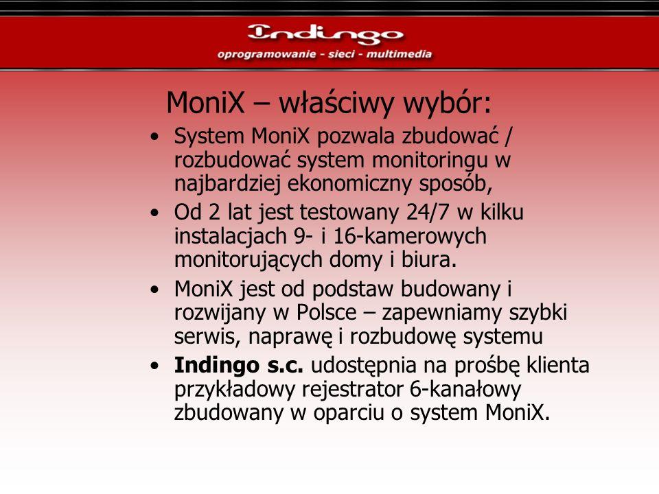 MoniX – właściwy wybór: System MoniX pozwala zbudować / rozbudować system monitoringu w najbardziej ekonomiczny sposób, Od 2 lat jest testowany 24/7 w