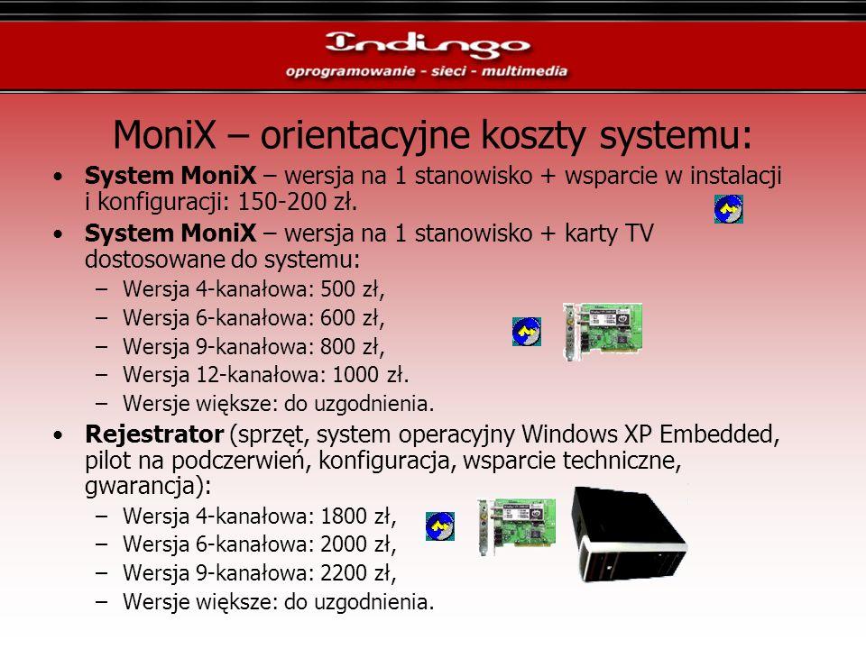 MoniX – orientacyjne koszty systemu: System MoniX – wersja na 1 stanowisko + wsparcie w instalacji i konfiguracji: 150-200 zł. System MoniX – wersja n