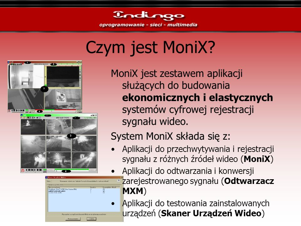 Czym jest MoniX? MoniX jest zestawem aplikacji służących do budowania ekonomicznych i elastycznych systemów cyfrowej rejestracji sygnału wideo. System