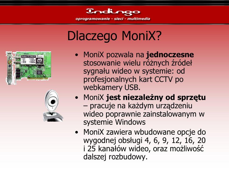 Dlaczego MoniX? MoniX pozwala na jednoczesne stosowanie wielu różnych źródeł sygnału wideo w systemie: od profesjonalnych kart CCTV po webkamery USB.