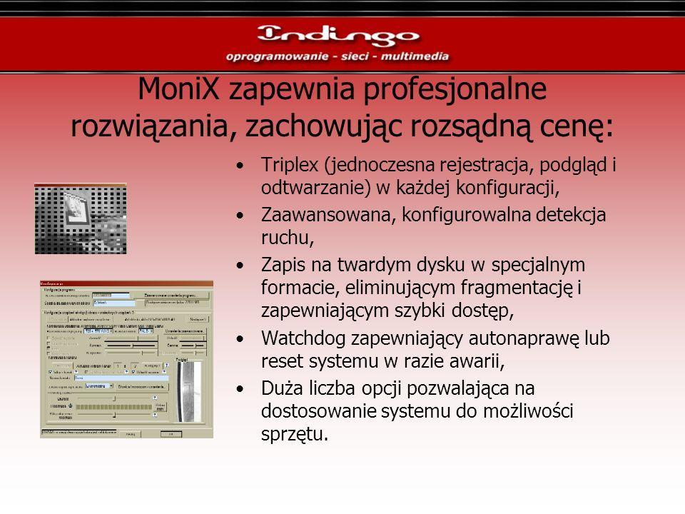 MoniX zapewnia profesjonalne rozwiązania, zachowując rozsądną cenę: Triplex (jednoczesna rejestracja, podgląd i odtwarzanie) w każdej konfiguracji, Za