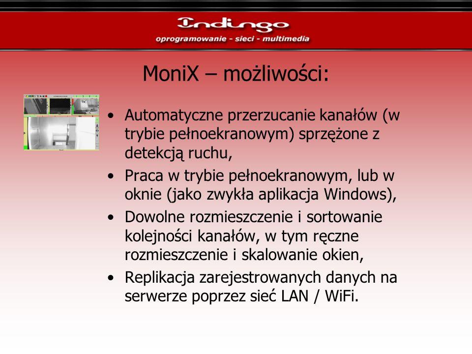 MoniX – możliwości: Automatyczne przerzucanie kanałów (w trybie pełnoekranowym) sprzężone z detekcją ruchu, Praca w trybie pełnoekranowym, lub w oknie