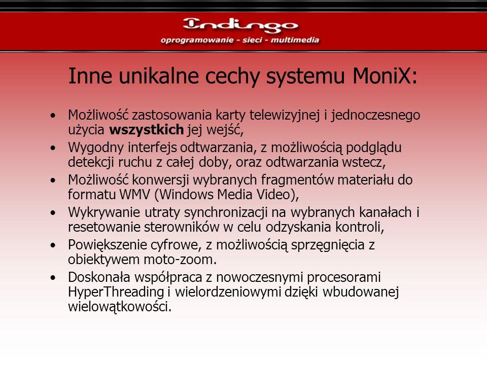 Inne unikalne cechy systemu MoniX: Możliwość zastosowania karty telewizyjnej i jednoczesnego użycia wszystkich jej wejść, Wygodny interfejs odtwarzani