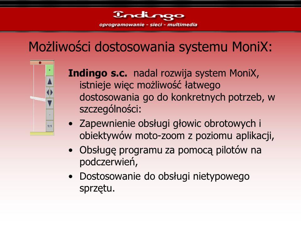 Możliwości dostosowania systemu MoniX: Indingo s.c. nadal rozwija system MoniX, istnieje więc możliwość łatwego dostosowania go do konkretnych potrzeb