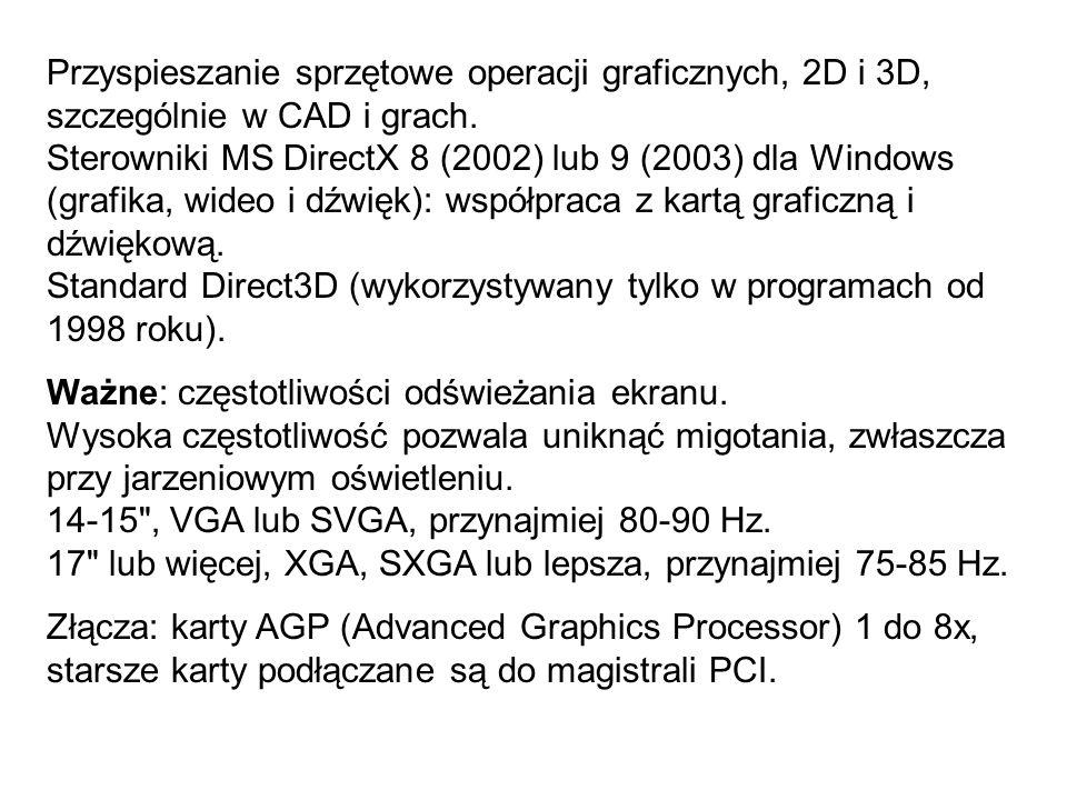 Przyspieszanie sprzętowe operacji graficznych, 2D i 3D, szczególnie w CAD i grach.