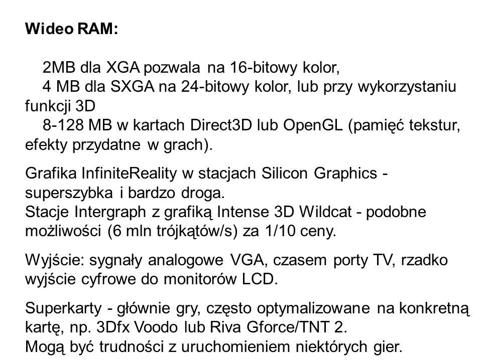 Wideo RAM: 2MB dla XGA pozwala na 16-bitowy kolor, 4 MB dla SXGA na 24-bitowy kolor, lub przy wykorzystaniu funkcji 3D 8-128 MB w kartach Direct3D lub OpenGL (pamięć tekstur, efekty przydatne w grach).