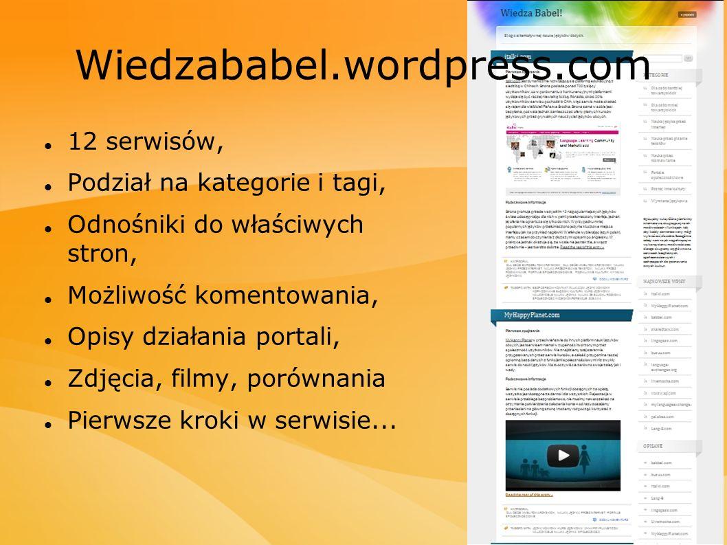 12 serwisów, Podział na kategorie i tagi, Odnośniki do właściwych stron, Możliwość komentowania, Opisy działania portali, Zdjęcia, filmy, porównania P