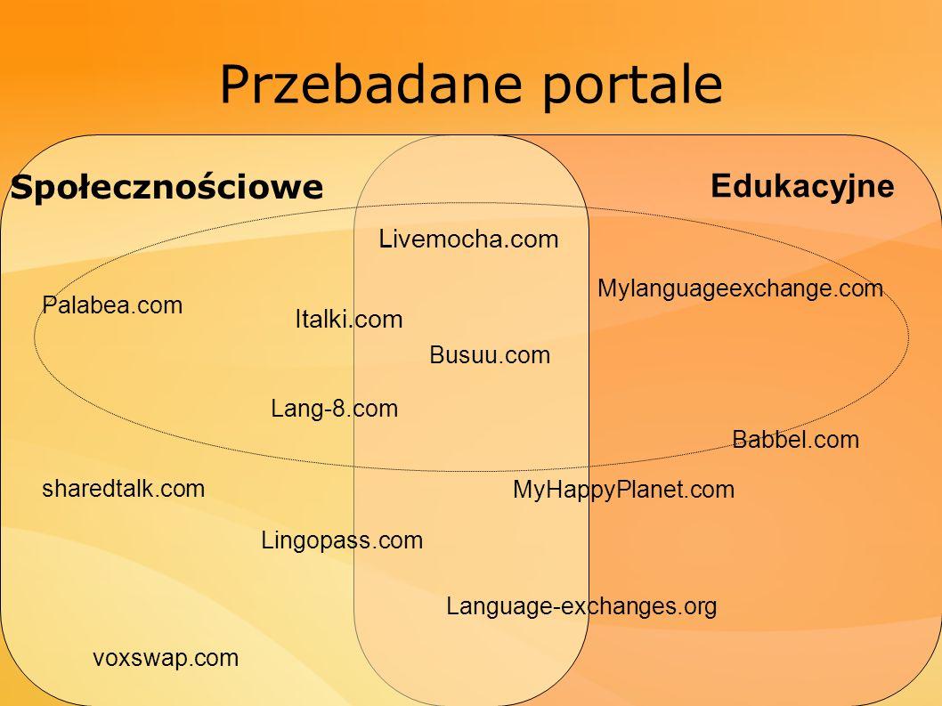 Przebadane portale Livemocha.com Italki.com MyHappyPlanet.com Babbel.com sharedtalk.com Lingopass.com Busuu.com Language-exchanges.org voxswap.com Mylanguageexchange.com Palabea.com Lang-8.com Społecznościowe Edukacyjne