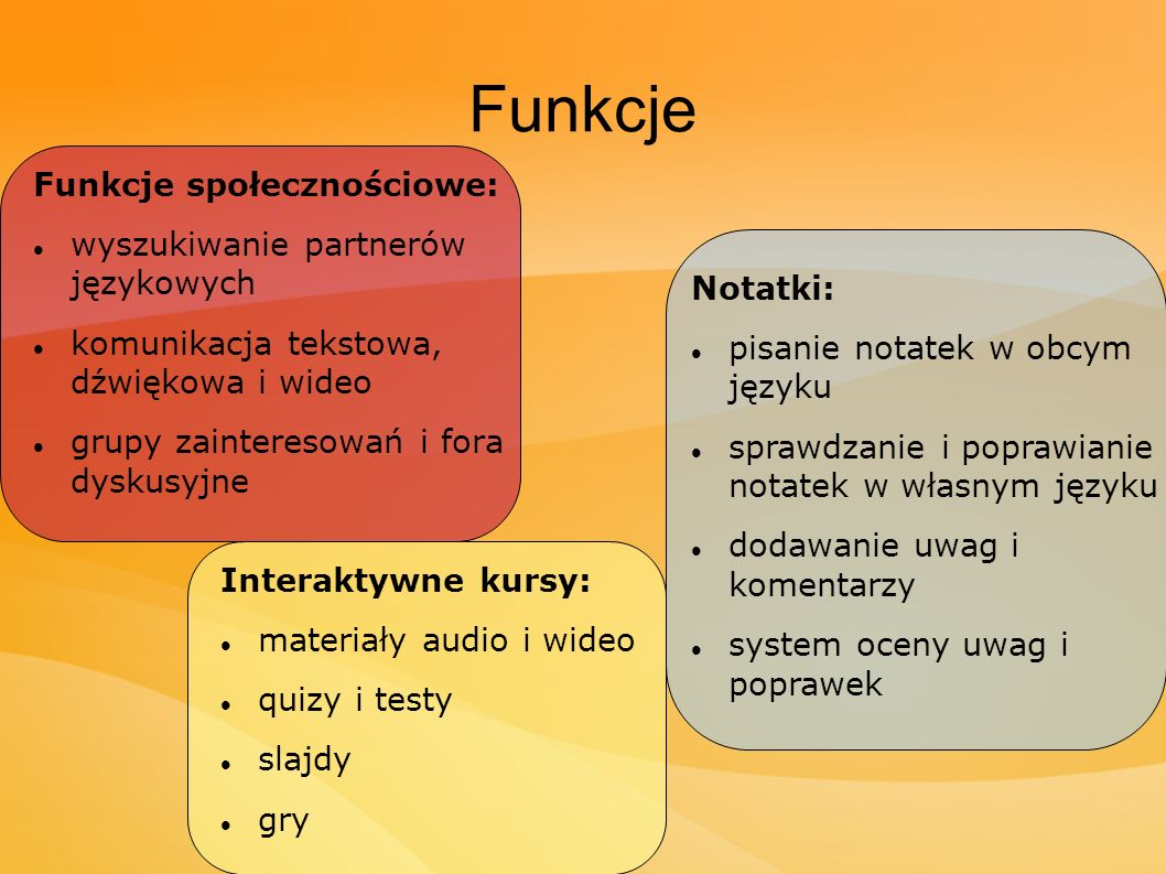 Funkcje Funkcje społecznościowe: wyszukiwanie partnerów językowych komunikacja tekstowa, dźwiękowa i wideo grupy zainteresowań i fora dyskusyjne Notat