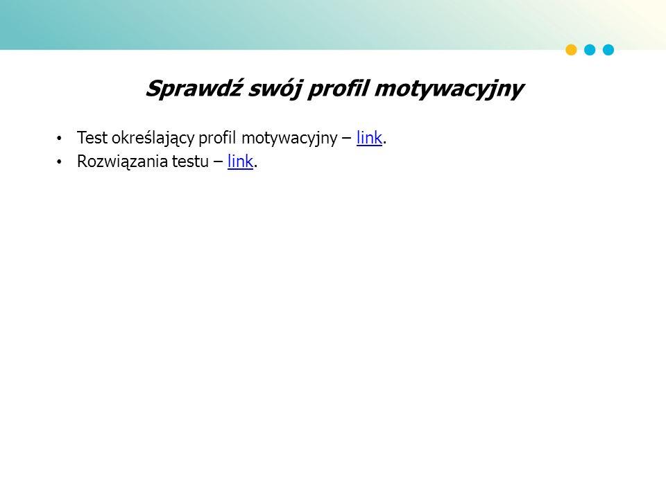 Sprawdź swój profil motywacyjny Test określający profil motywacyjny – link.link Rozwiązania testu – link.link