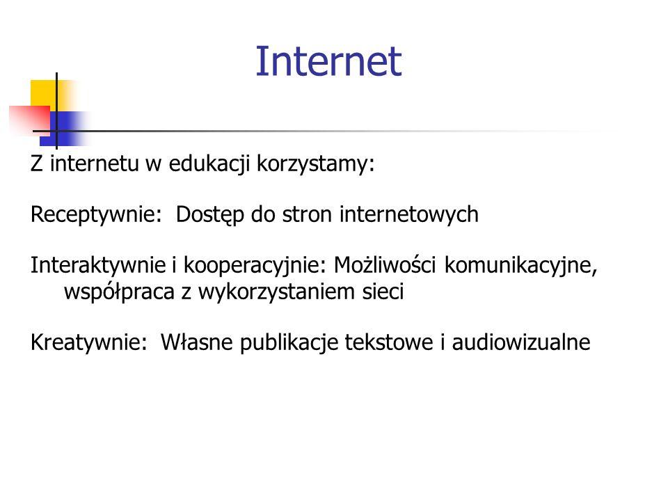 Internet Z internetu w edukacji korzystamy: Receptywnie: Dostęp do stron internetowych Interaktywnie i kooperacyjnie: Możliwości komunikacyjne, współpraca z wykorzystaniem sieci Kreatywnie: Własne publikacje tekstowe i audiowizualne