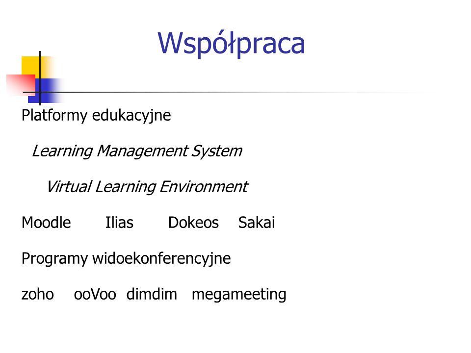 Współpraca Platformy edukacyjne Learning Management System Virtual Learning Environment Moodle Ilias Dokeos Sakai Programy widoekonferencyjne zoho ooVoo dimdim megameeting