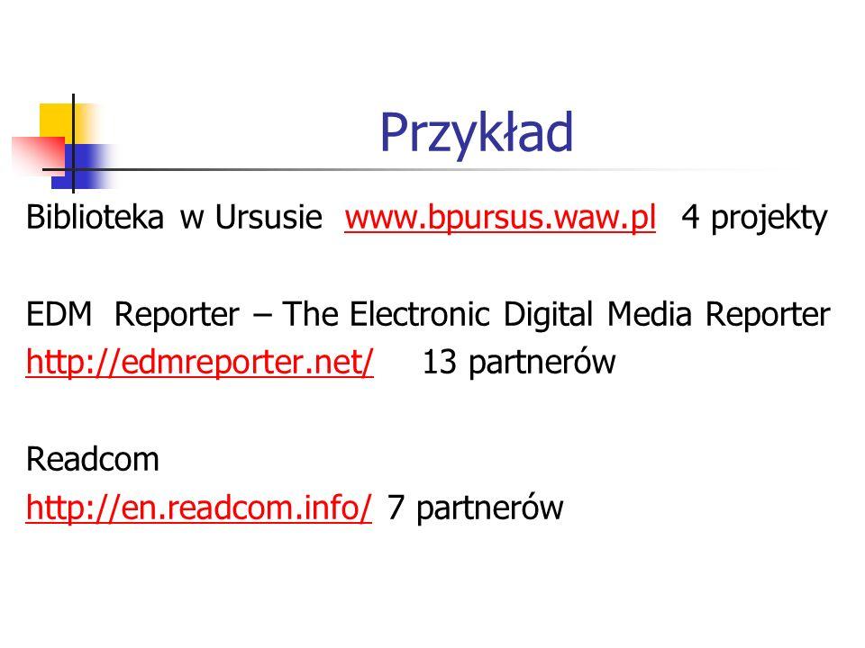 Przykład Biblioteka w Ursusie www.bpursus.waw.pl 4 projektywww.bpursus.waw.pl EDM Reporter – The Electronic Digital Media Reporter http://edmreporter.net/http://edmreporter.net/ 13 partnerów Readcom http://en.readcom.info/http://en.readcom.info/ 7 partnerów