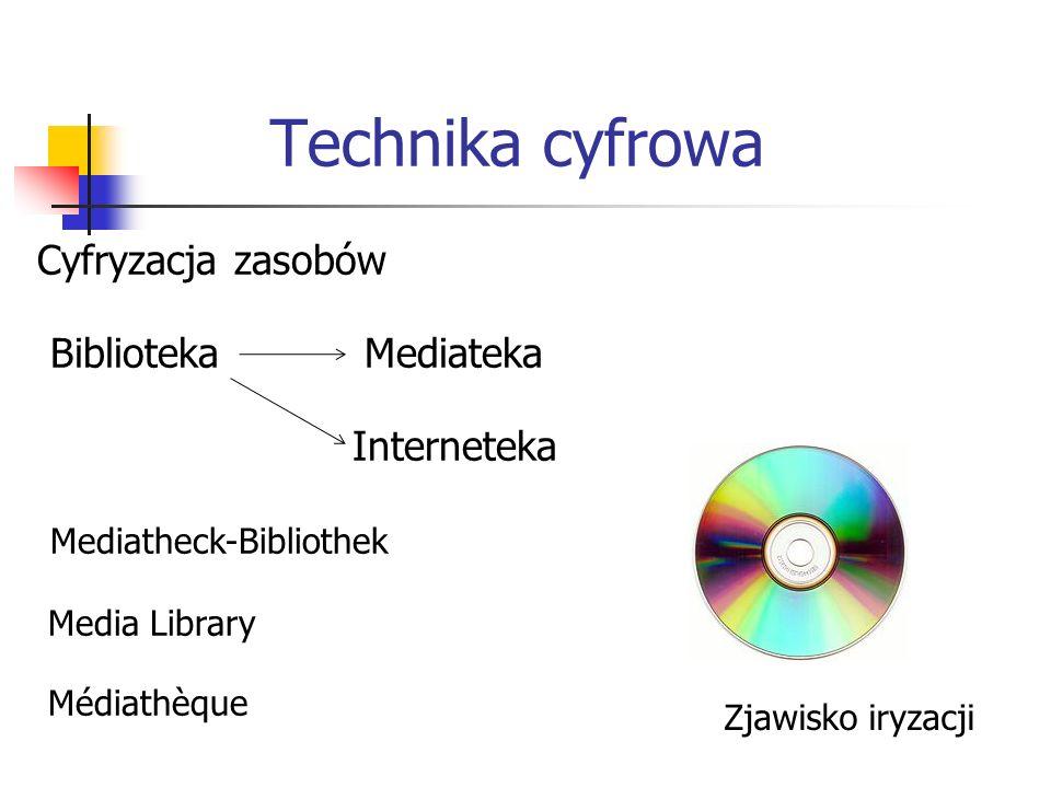 Technika cyfrowa Cyfryzacja zasobów Biblioteka Mediateka Interneteka Mediatheck-Bibliothek Media Library Médiathèque Zjawisko iryzacji