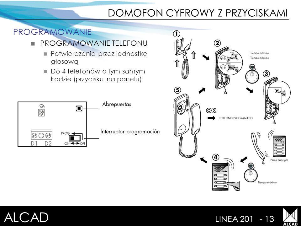 ALCAD LINEA 201- 13 PROGRAMOWANIE PROGRAMOWANIE TELEFONU Potwierdzenie przez jednostkę głosową Do 4 telefonów o tym samym kodzie (przycisku na panelu) DOMOFON CYFROWY Z PRZYCISKAMI