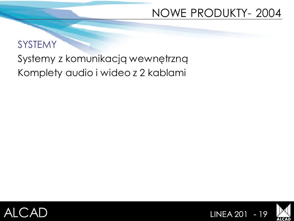 ALCAD LINEA 201- 19 NOWE PRODUKTY- 2004 SYSTEMY Systemy z komunikacją wewnętrzną Komplety audio i wideo z 2 kablami