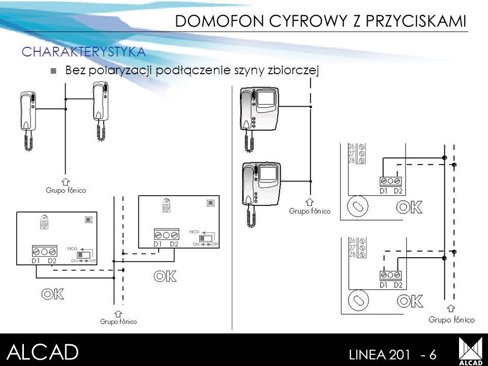ALCAD LINEA 201- 6 CHARAKTERYSTYKA Bez polaryzacji podłączenie szyny zbiorczej DOMOFON CYFROWY Z PRZYCISKAMI