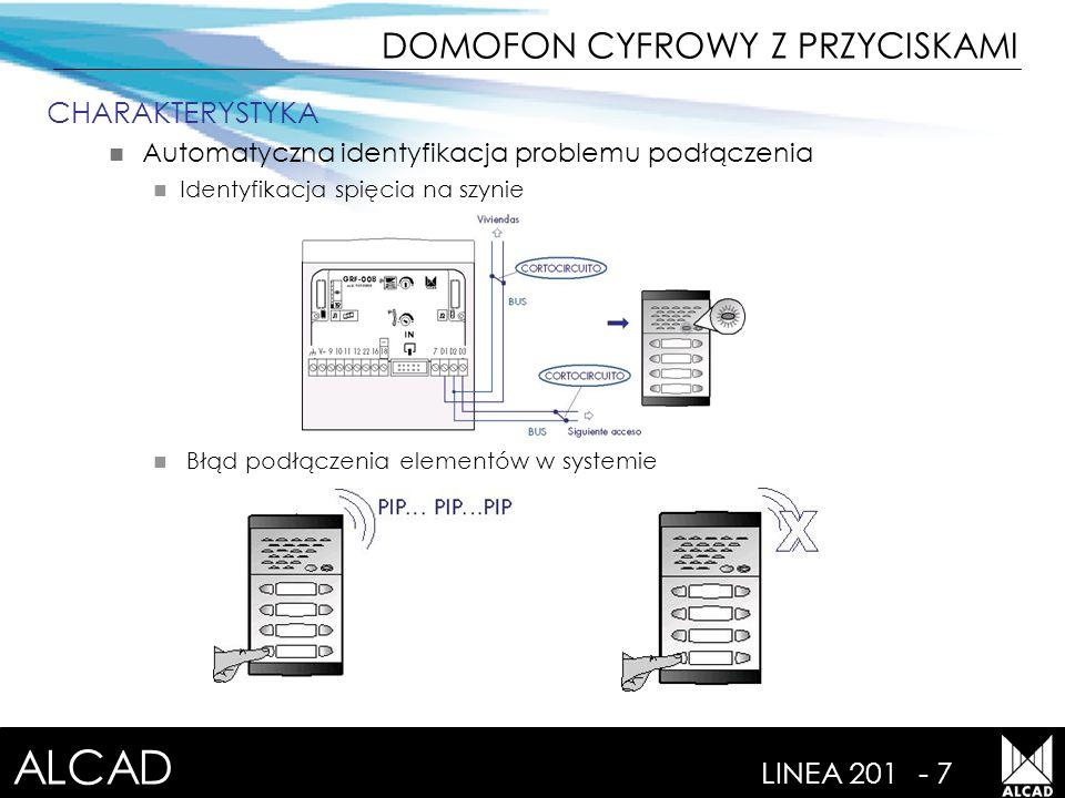 ALCAD LINEA 201- 8 CHARAKTERYSTYKA Łatwe programowanie elementów Dźwiękowe potwierdzenie poszczególnych kroków Użytkownik zidentyfikuje stan systemu Linia wolna lub zajęta Wywołanie Trójtonowy typ 1, z głównego panelu Trójtonowy typ 2, z innego panelu Gość zidentyfikuje stan systemu Potwierdzenie wywołania Przerywany ton Brak tonu DOMOFON CYFROWY Z PRZYCISKAMI