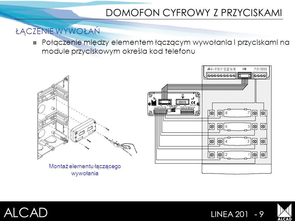 ALCAD LINEA 201- 9 ŁĄCZENIE WYWOŁAŃ Połączenie między elementem łączącym wywołania i przyciskami na module przyciskowym określa kod telefonu Montaż elementu łączącego wywołania DOMOFON CYFROWY Z PRZYCISKAMI