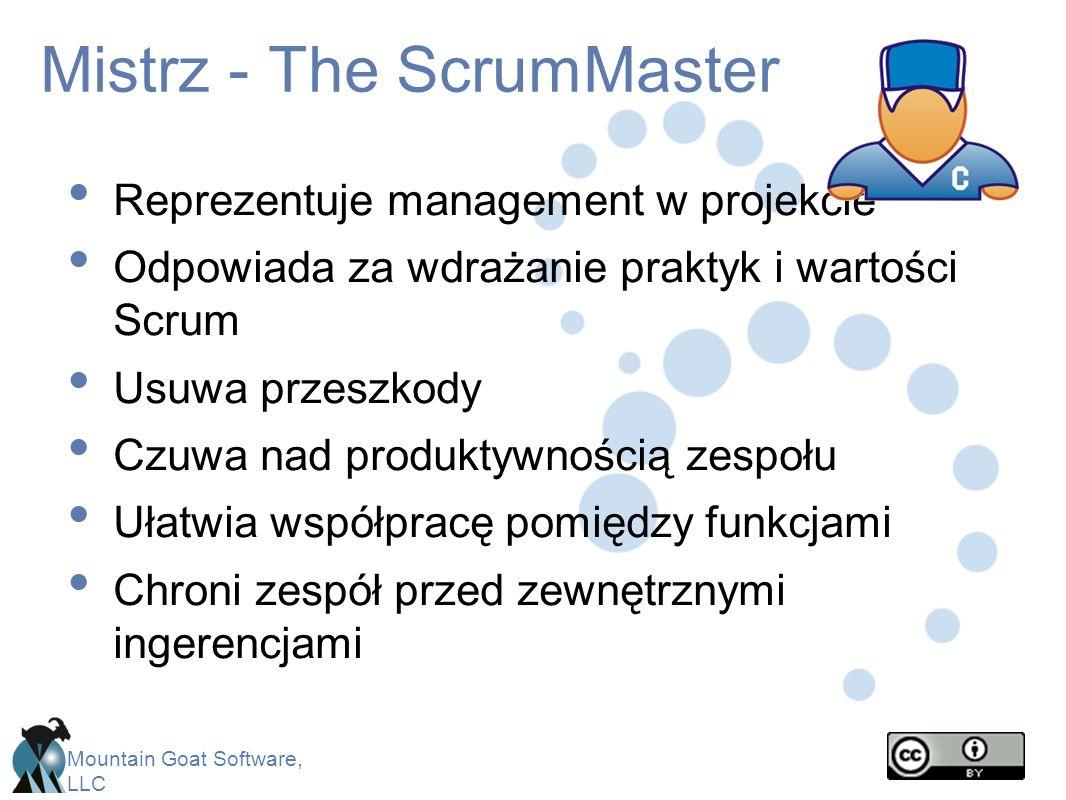 Mountain Goat Software, LLC Mistrz - The ScrumMaster Reprezentuje management w projekcie Odpowiada za wdrażanie praktyk i wartości Scrum Usuwa przeszk