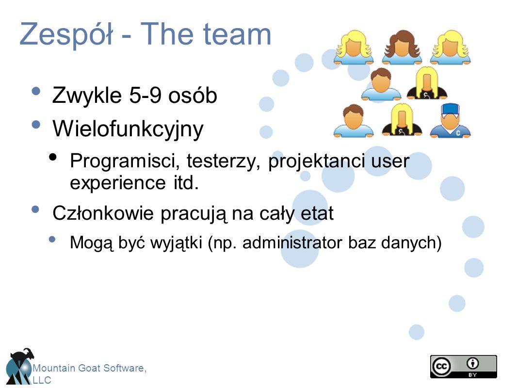 Mountain Goat Software, LLC Zespół - The team Zwykle 5-9 osób Wielofunkcyjny Programisci, testerzy, projektanci user experience itd. Członkowie pracuj