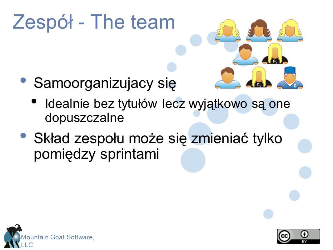Mountain Goat Software, LLC Zespół - The team Samoorganizujacy się Idealnie bez tytułów lecz wyjątkowo są one dopuszczalne Skład zespołu może się zmie