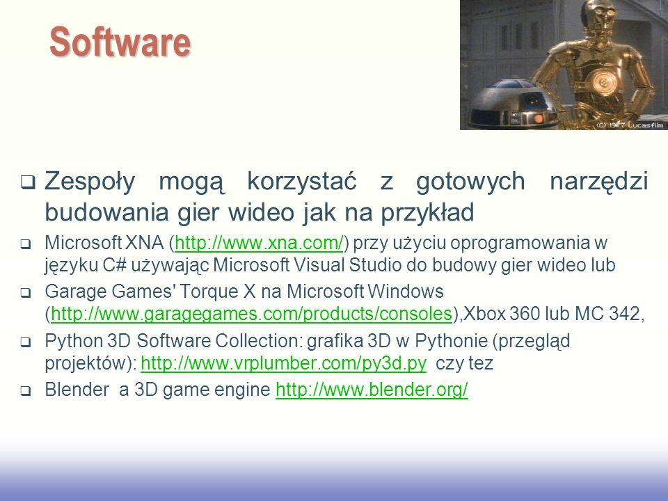 EE141 Zespoły mogą korzystać z gotowych narzędzi budowania gier wideo jak na przykład Microsoft XNA (http://www.xna.com/) przy użyciu oprogramowania w