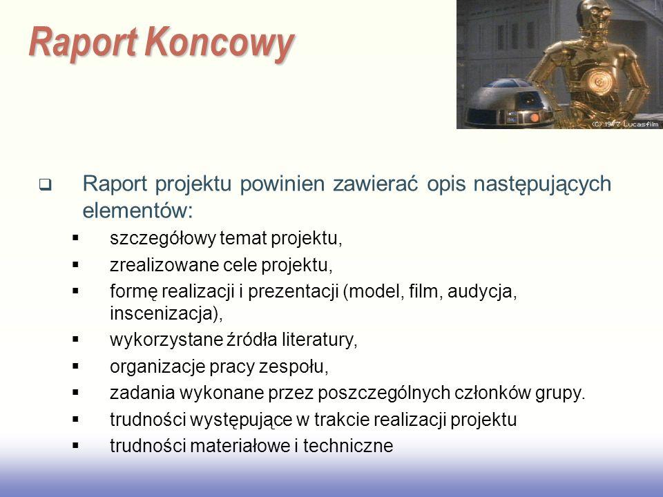 EE141 Raport Koncowy Raport projektu powinien zawierać opis następujących elementów: szczegółowy temat projektu, zrealizowane cele projektu, formę rea