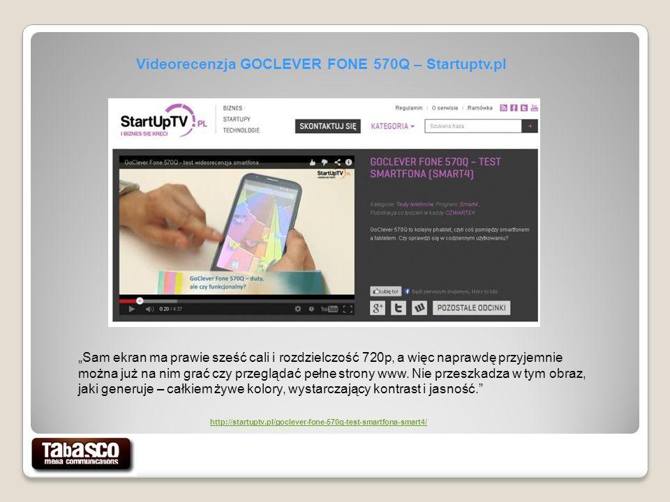 Videorecenzja GOCLEVER FONE 570Q – Startuptv.pl Sam ekran ma prawie sześć cali i rozdzielczość 720p, a więc naprawdę przyjemnie można już na nim grać czy przeglądać pełne strony www.