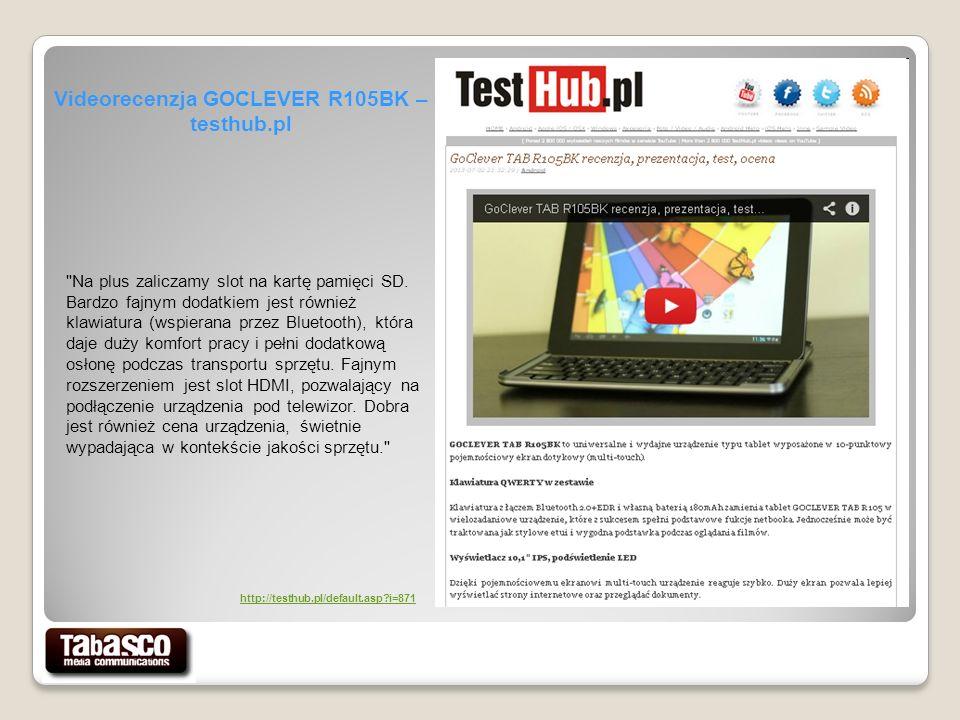 Videorecenzja GOCLEVER R105BK – testhub.pl Na plus zaliczamy slot na kartę pamięci SD.