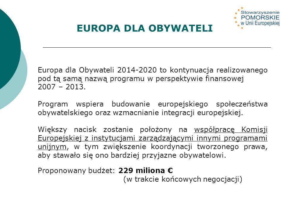 EUROPA DLA OBYWATELI Europa dla Obywateli 2014-2020 to kontynuacja realizowanego pod tą samą nazwą programu w perspektywie finansowej 2007 – 2013.