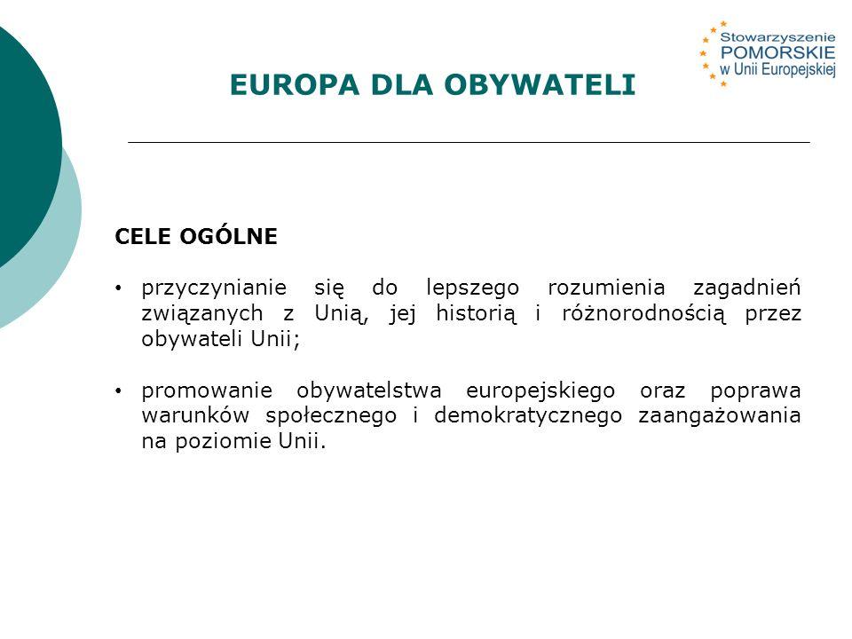 CELE OGÓLNE przyczynianie się do lepszego rozumienia zagadnień związanych z Unią, jej historią i różnorodnością przez obywateli Unii; promowanie obywatelstwa europejskiego oraz poprawa warunków społecznego i demokratycznego zaangażowania na poziomie Unii.