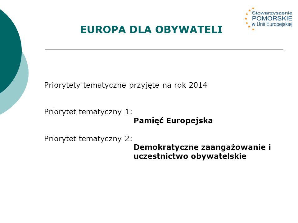 Priorytety tematyczne przyjęte na rok 2014 Priorytet tematyczny 1: Pamięć Europejska Priorytet tematyczny 2: Demokratyczne zaangażowanie i uczestnictwo obywatelskie EUROPA DLA OBYWATELI